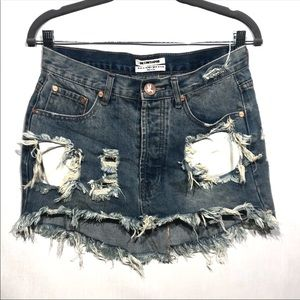 ONExONETEASPOON Distressed Denim Skirt